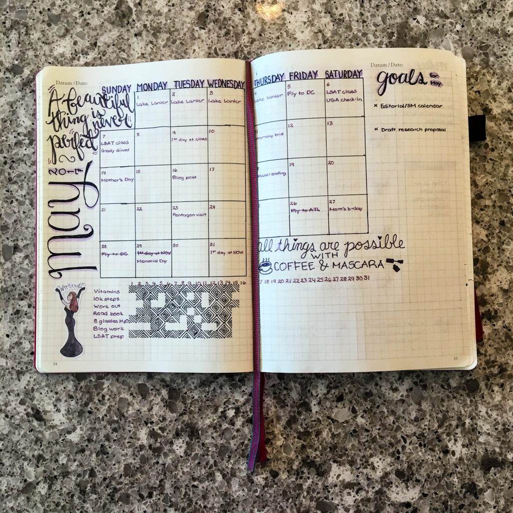 Bullet Journal Monthly Spread - Espresso and Ambition