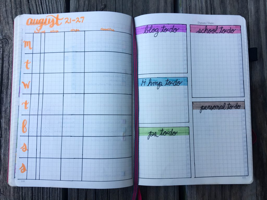 Bullet Journal Layout for Students - Espresso and Ambition
