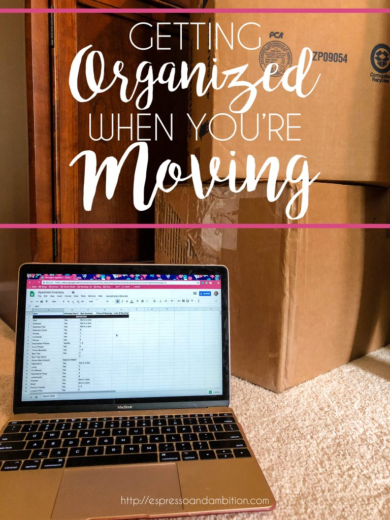 Getting Organized When You're Moving - Espresso and Ambition