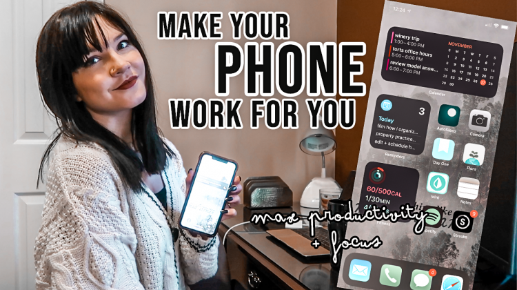 how to organize your phone for productivity | what's on my iphone {iOS 14}
