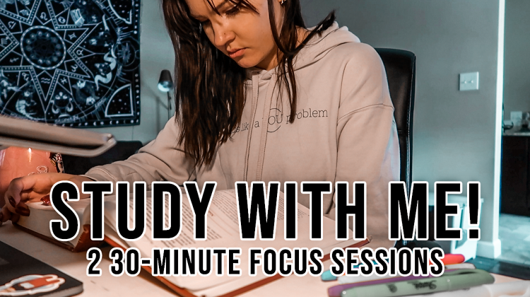 study with me | 1 hour focus time w/ 5 minute break (+ fireplace sounds!)